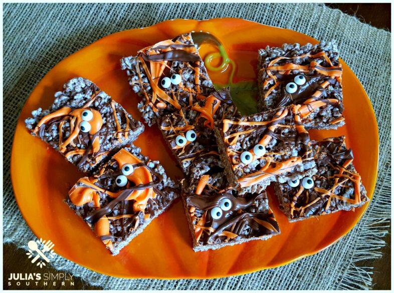 Easy Halloween Treats on an orange pumpkin platter