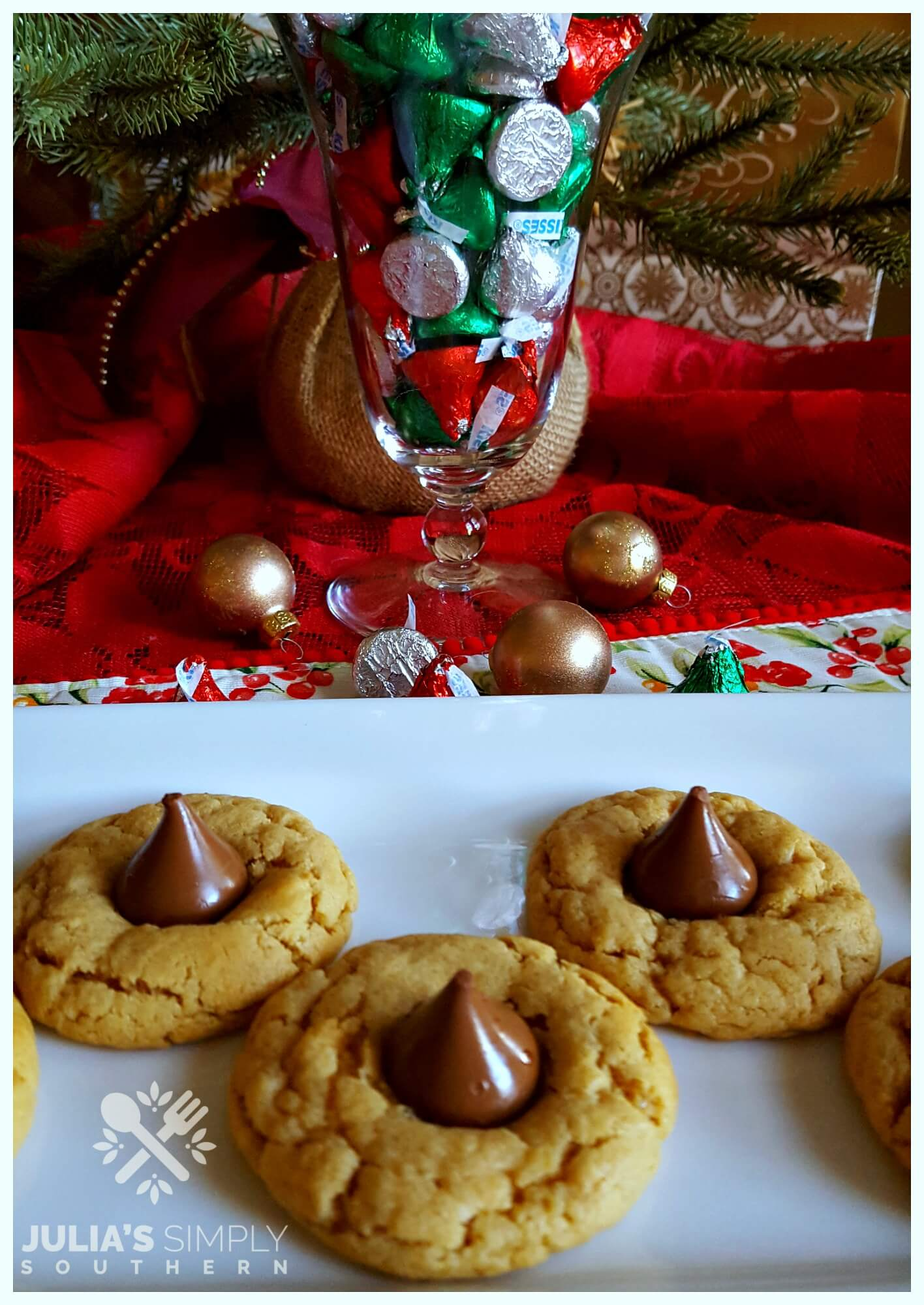Peanut butter cookies with a Hershey Kiss for Christmas