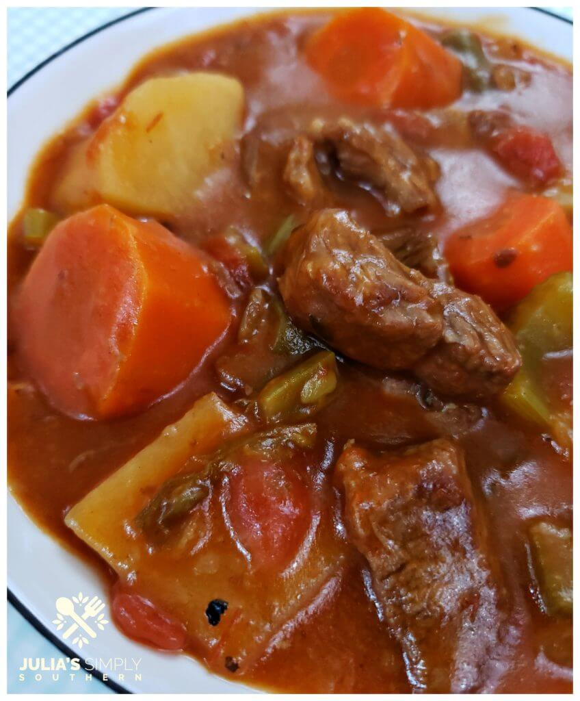 Classic old fashioned beef stew recipe cooked in a Crockpot