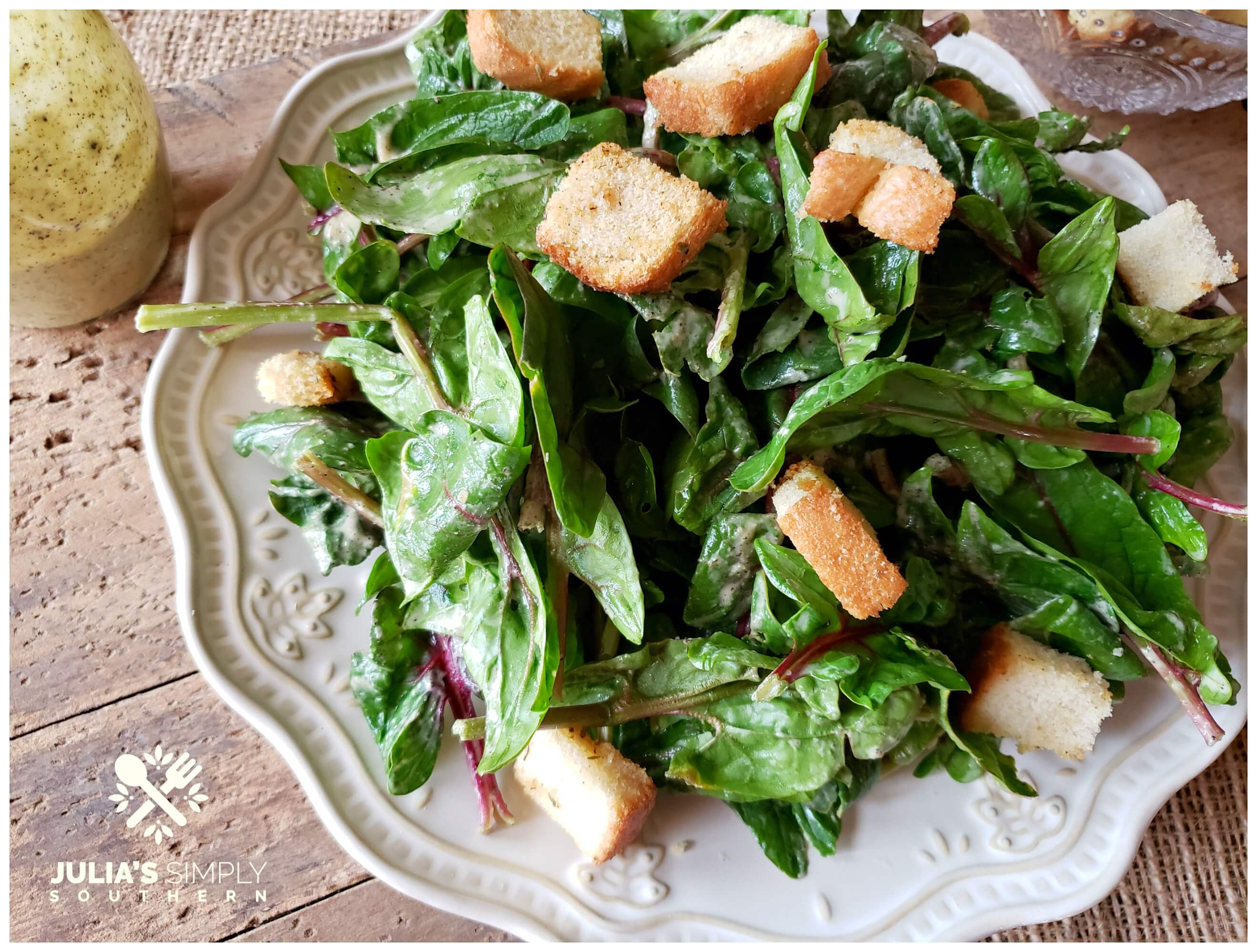 baby kale salad with fresh croutons