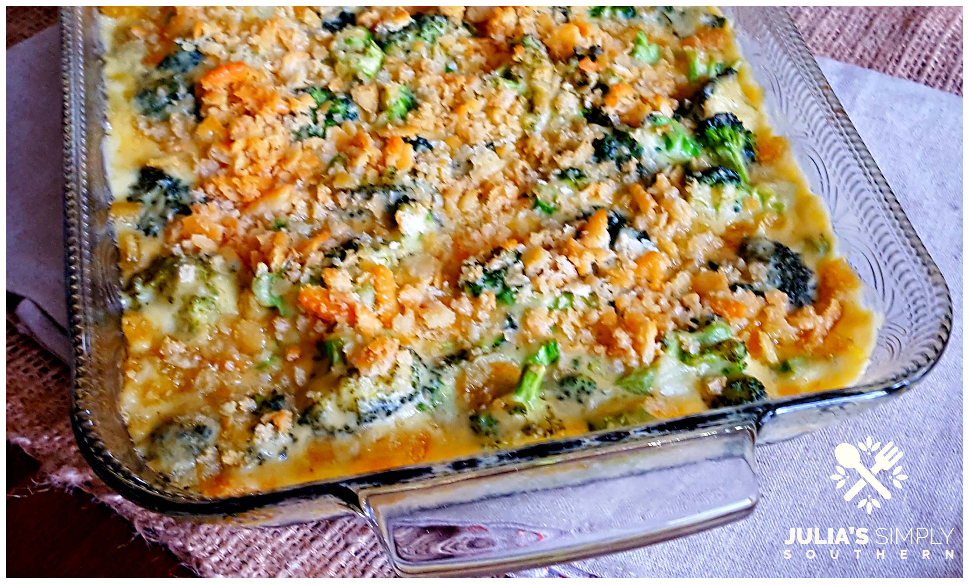 Broccoli Cheese Bake Side Dish using fresh broccoli in a glass casserole dish
