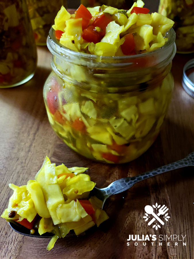 Homemade chow chow relish made with garden vegetables