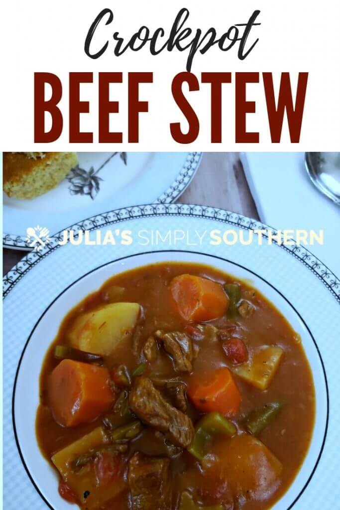 How to make old fashioned BEEF STEW in the slow cooker? This classic Crockpot beef stew recipe is a tried and true comfort food. Come home to a home cooked dinner without all of the work. The meaty stew and vegetables with a thick gravy sauce is the perfect meals on a chilly day. #SouthernFood #Crockpot #slowcooker #BeefStew #FamilyMeals