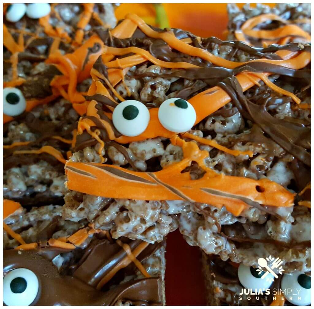 Easy Halloween Treats with chocolate and orange drizzle with candy eyes