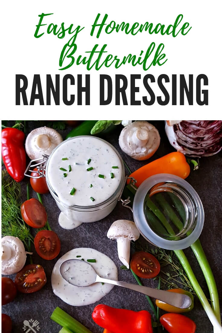 Easy Homemade Buttermilk Ranch Dressing from Scratch #easyrecipe #saladdressing #Ranch