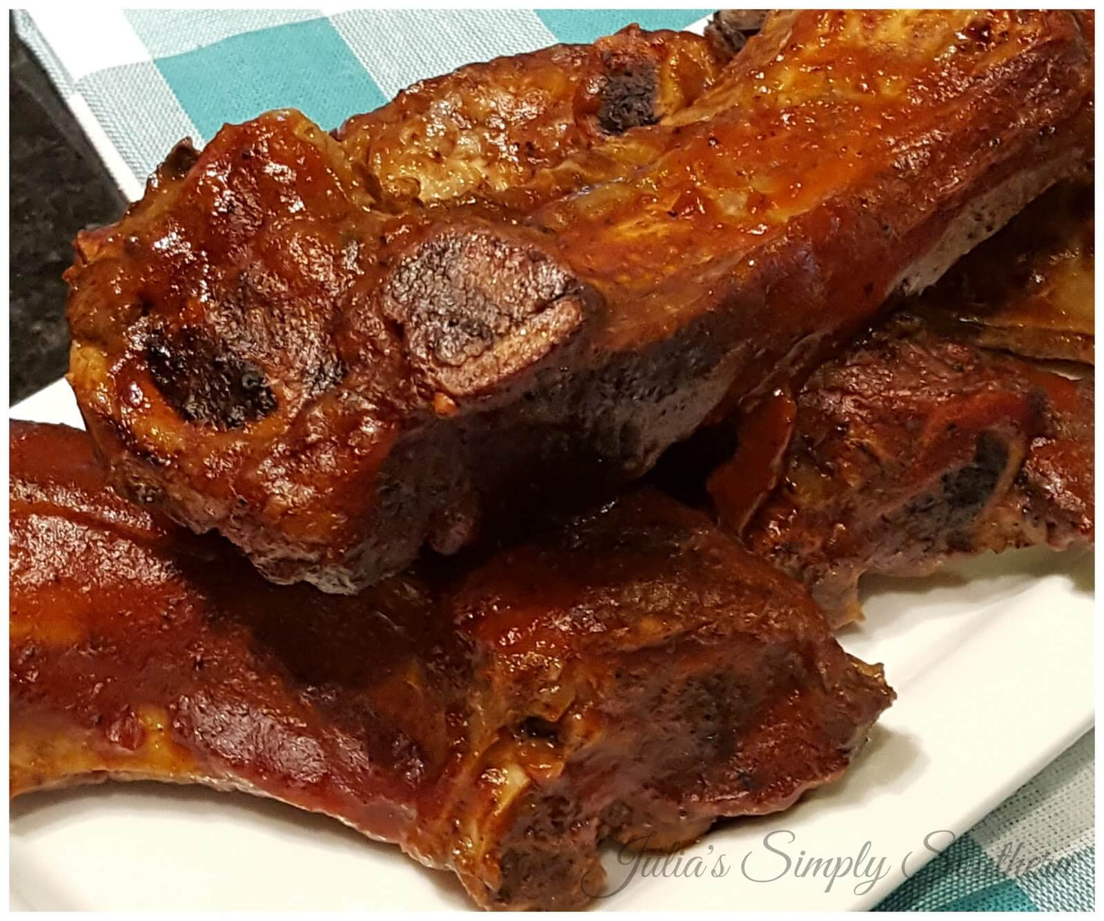 BBQ Beef Ribs slow roasted in the oven