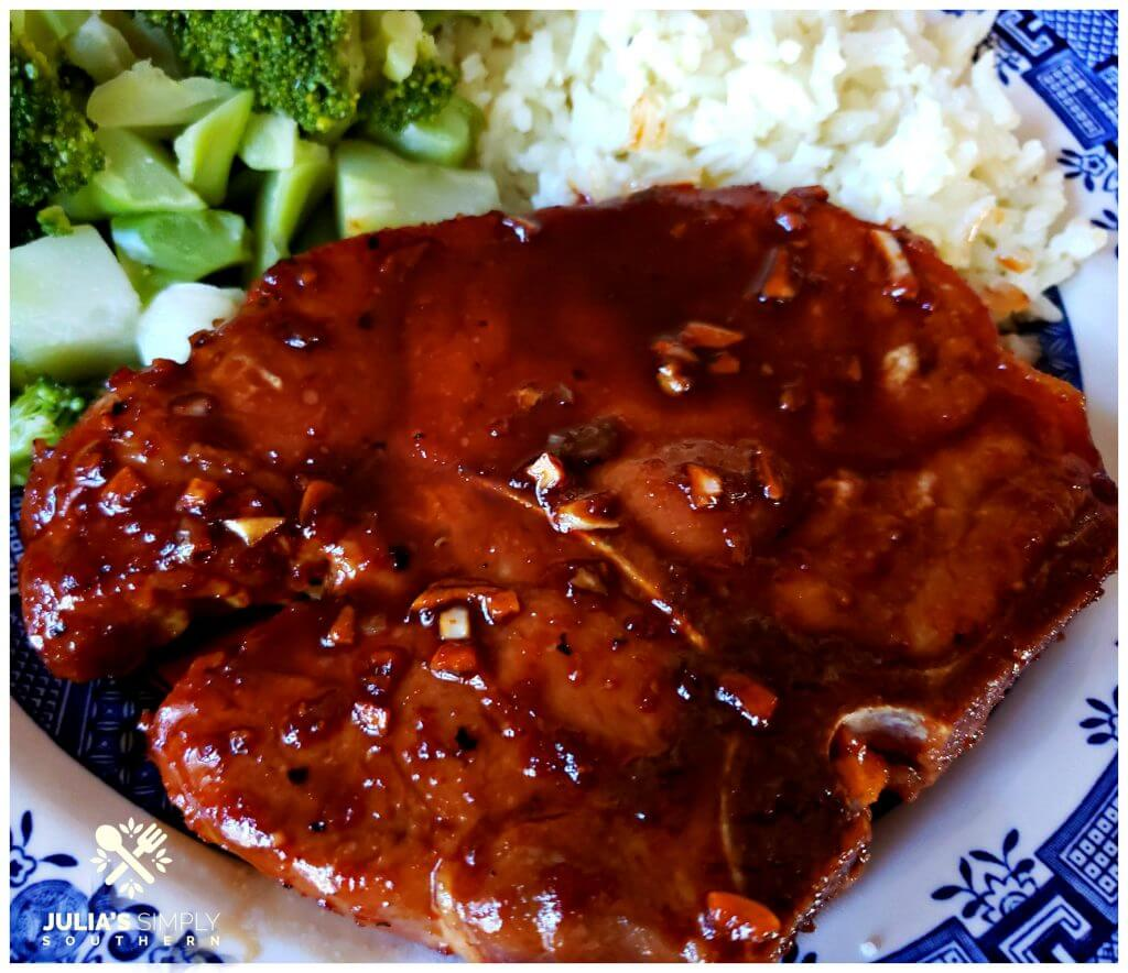 Asian Style sticky pork chops on a blue and white plate