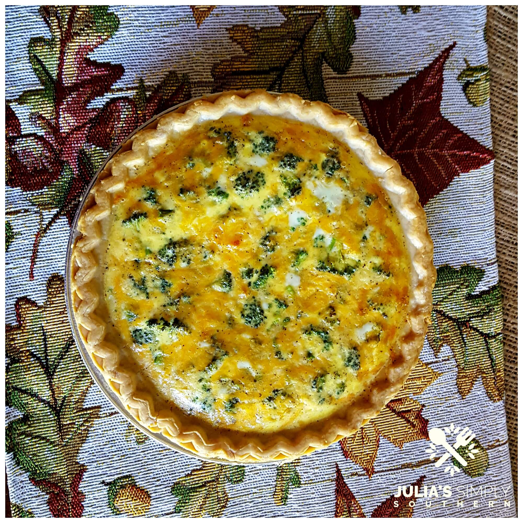 Broccoli and Cheddar Cheese Quiche in a store bought pie shell