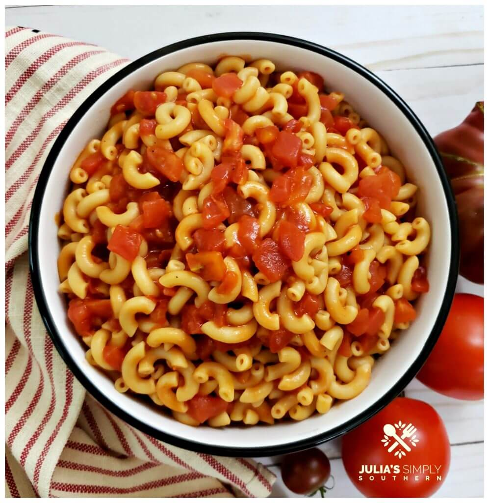 Black and White Serving Bowl filled with a macaroni and tomatoes recipe