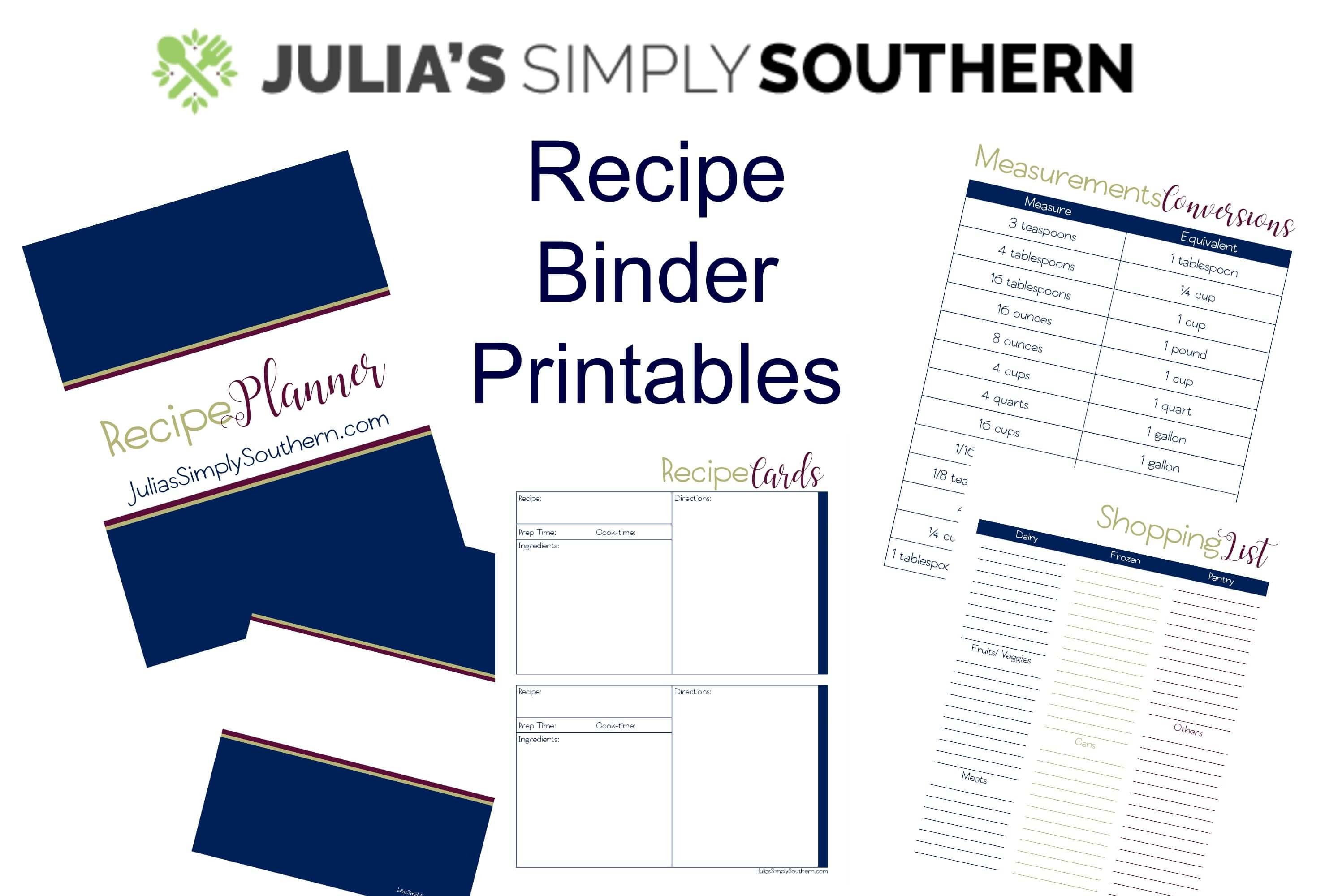 Free Printables, Recipe Binder Organizer