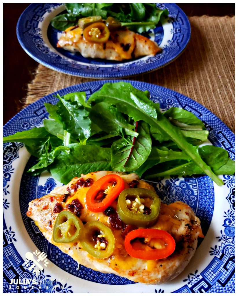 Jalapeno Popper Chicken Breast easy family dinner with garden salad