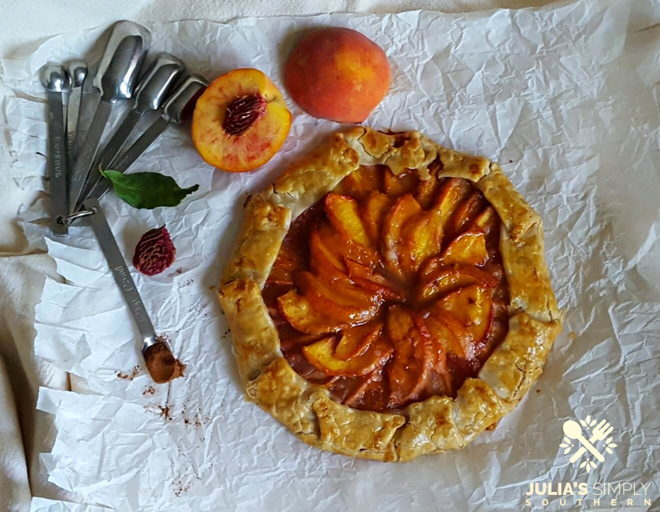 Easy dessert using fresh peaches - Peach Galette - Julia's Simply Southern