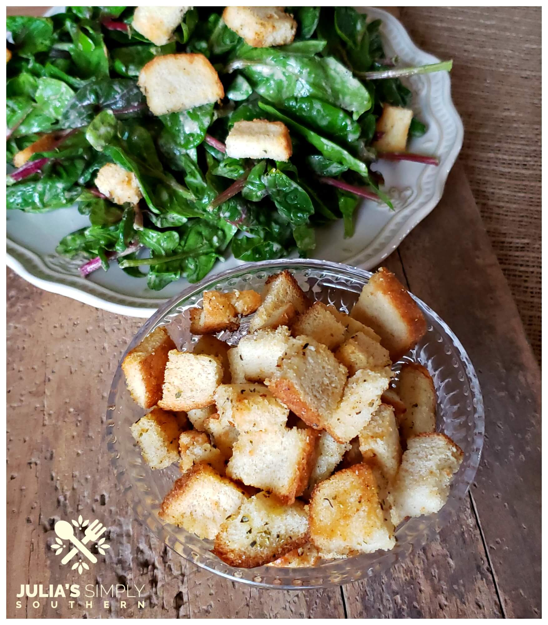 Easy homemade baked croutons - frugal tips - money saving ideas