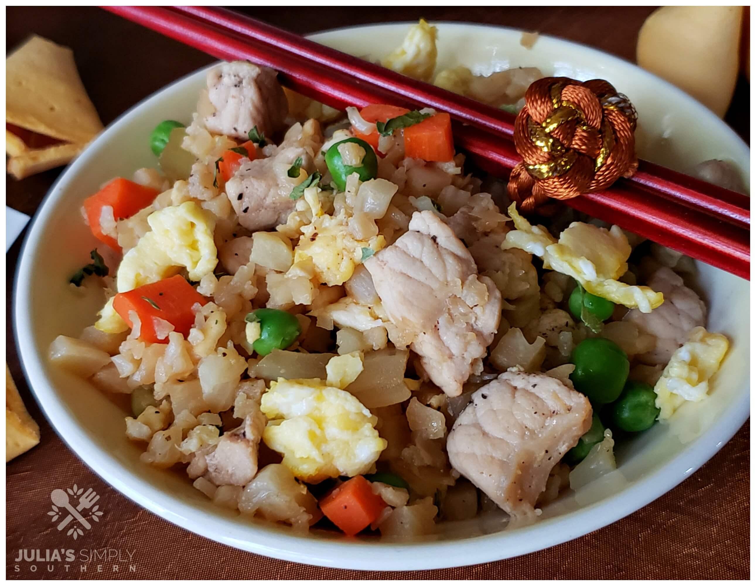 Fresh cauliflower fried rice with pork - asian style