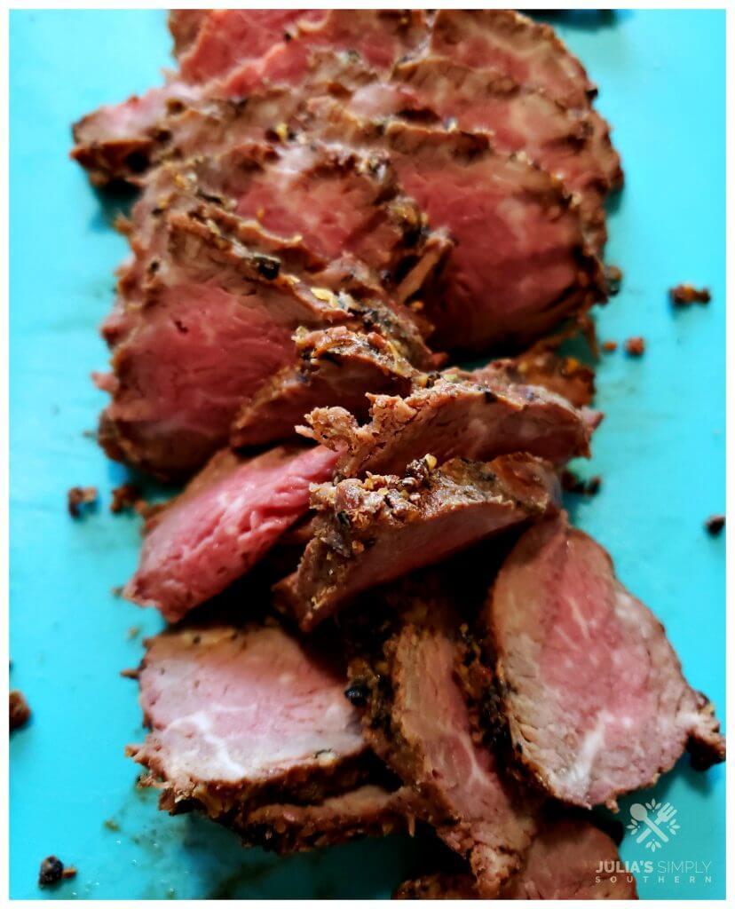 Medium grilled peppercorn beef tenderloin