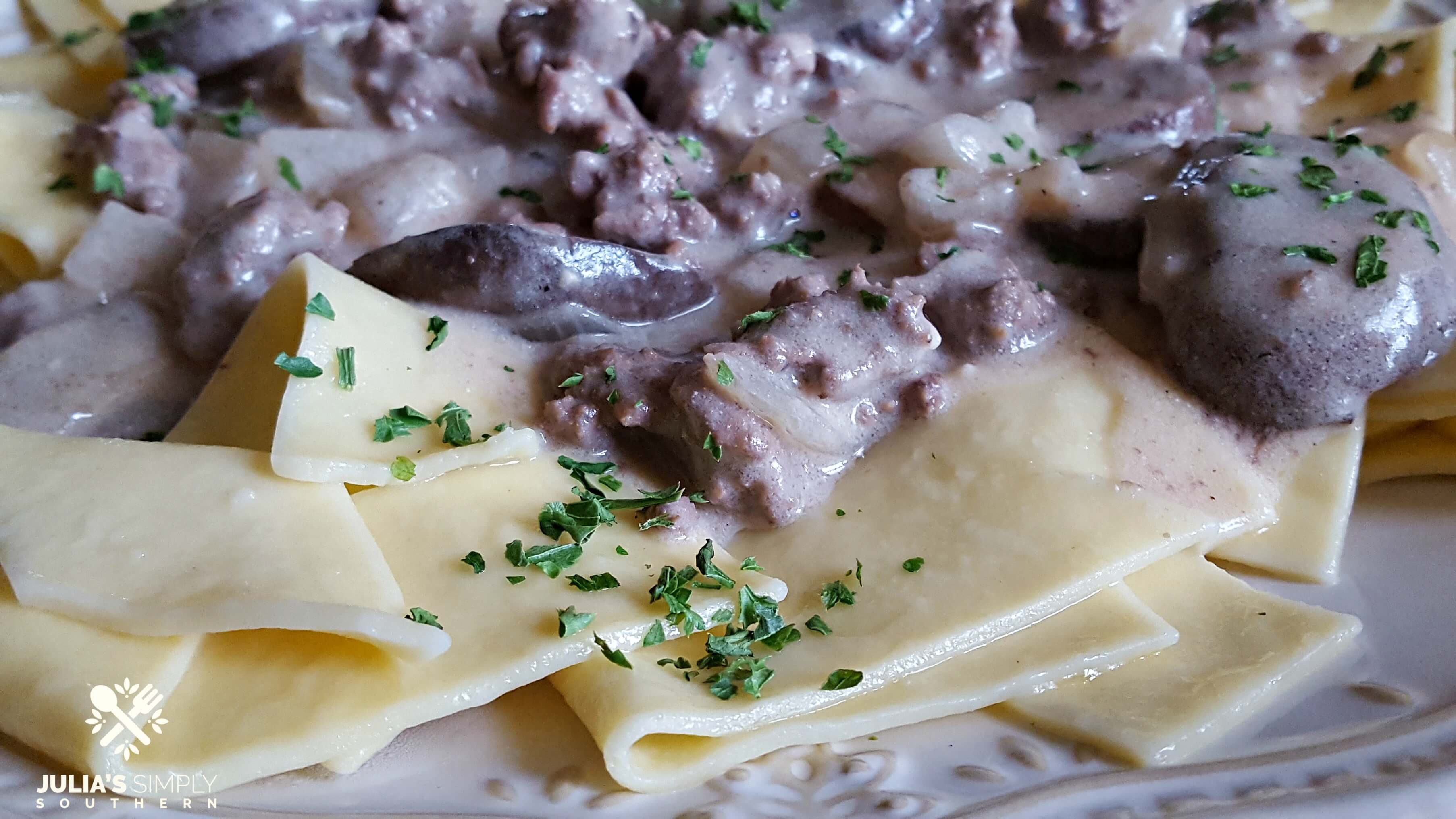 Best Beef Stroganoff with Ground Beef on a bone china plate