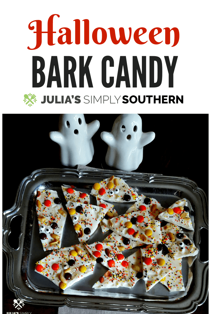 Halloween Bark is a fun and easy treat. This is a great activity to do with kids. #EasyRecipe #KidFriendly #Halloween #Dessert | Julia's Simply Southern