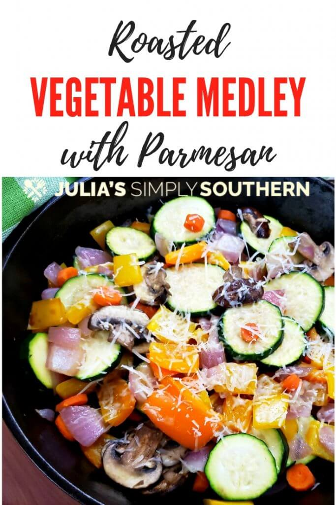 How to make a healthy vegetable side dish? This roasted vegetable medley is easy to prepare, healthy and delicious. Top it off with freshly grated Parmesan cheese. The beautiful rainbow of colors make this dish as visually appealing as it is tasty. #sidedish #easy #southernfood #healthyrecipes #vegetablemedley #cheeseandvegetables