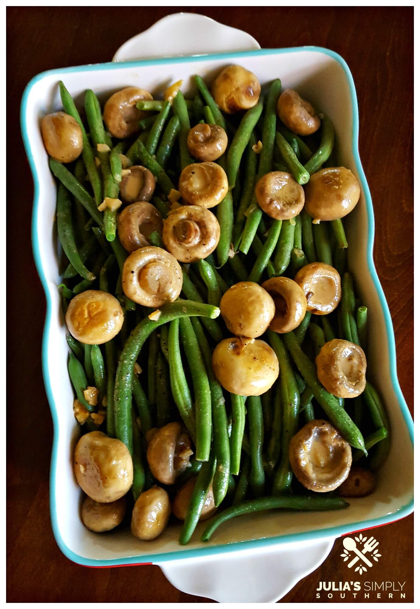 Thanksgiving Recipes Side Dish - Fresh green bean casserole with mushrooms and garlic (no canned soups)