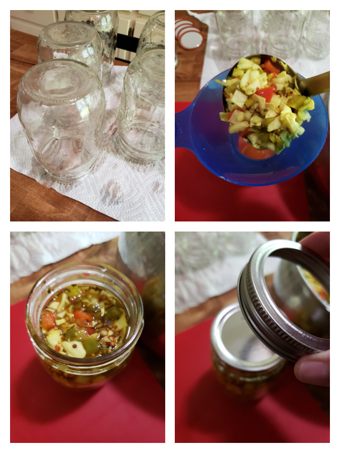 Add chow chow relish to sterilized canning jars