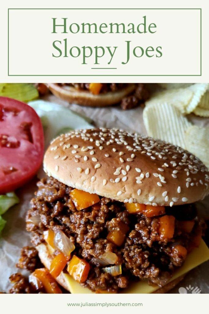 Pinterest graphic - Sloppy Joes recipe