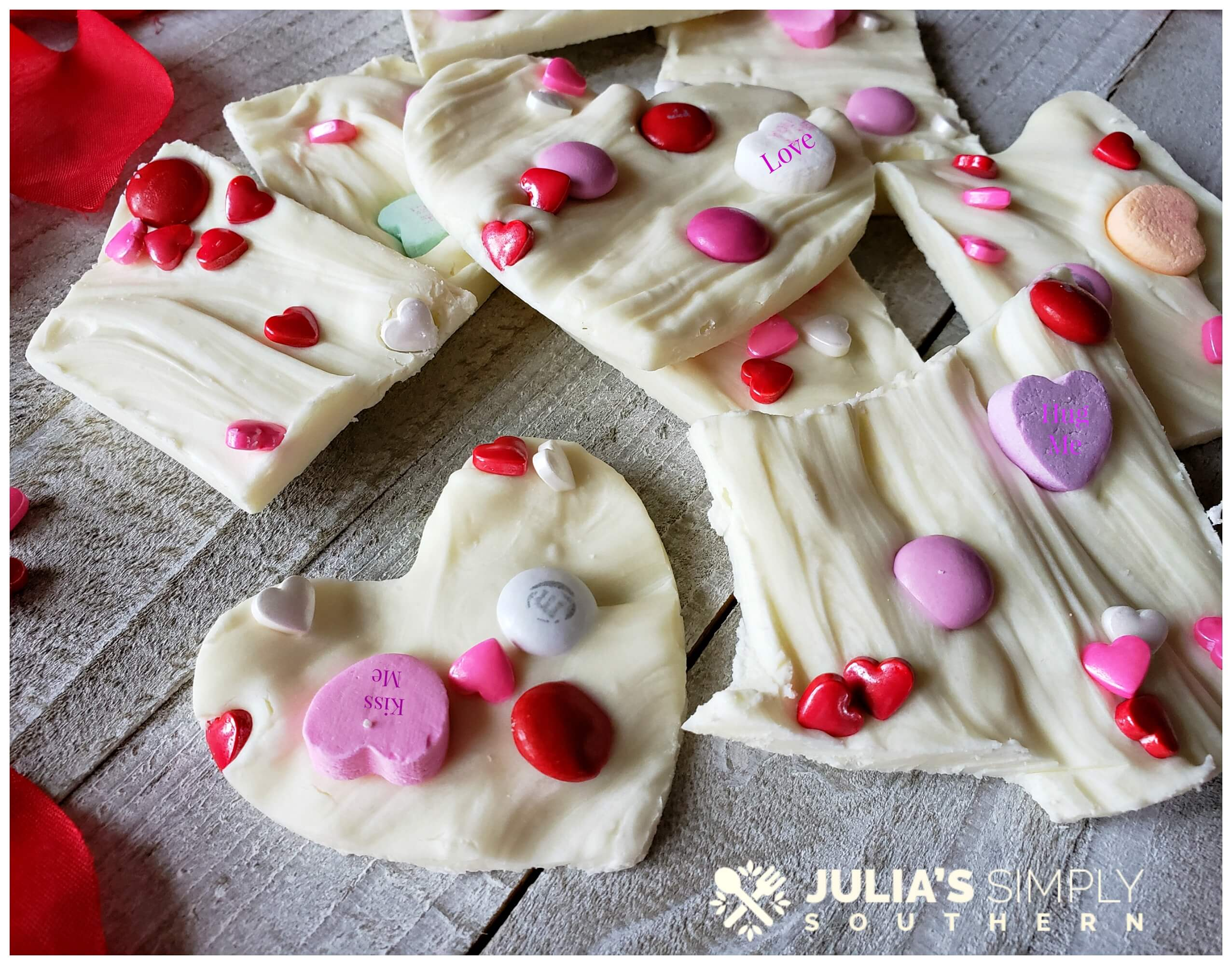 Easy bark candy treats for Valentine's Day