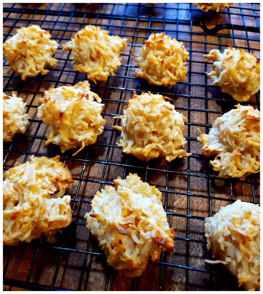 Cooling fresh baked homemade coconut macaroon cookies for holiday treats