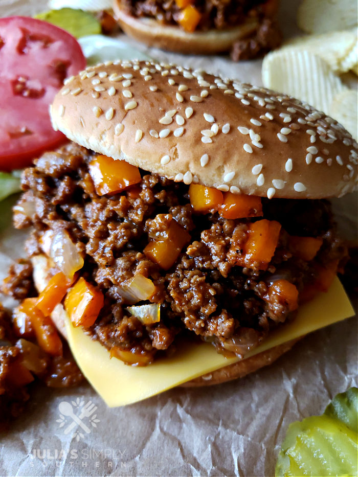 Loose Meat sandwich with homemade sauce recipe on sesame seed buns