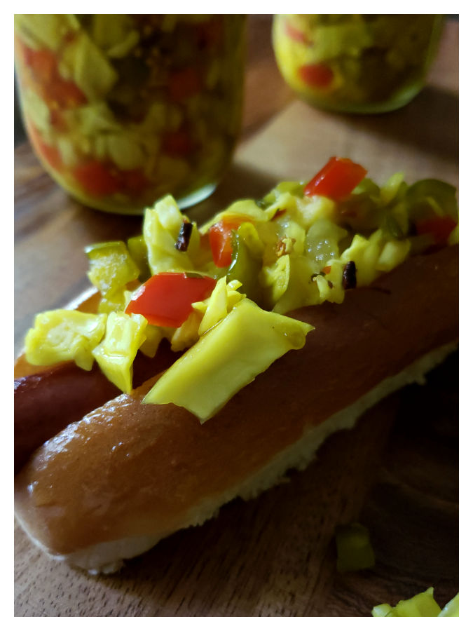 Homemade chow chow relish served on a hot dog