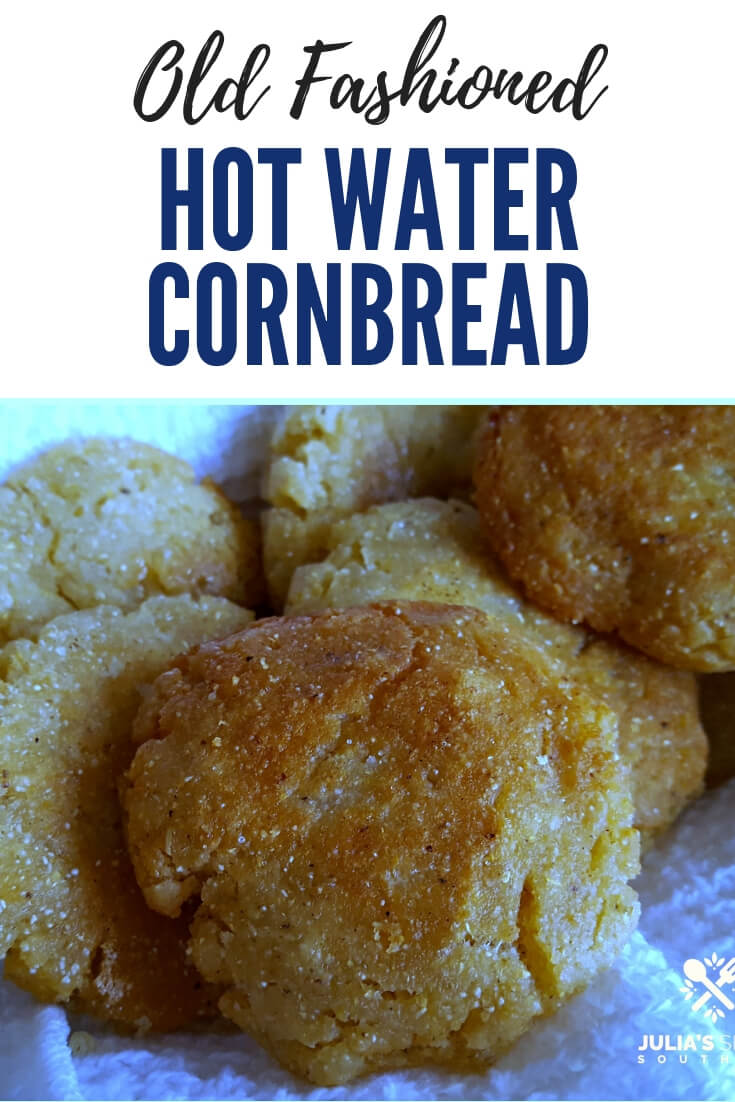 Old Fashioned Southern Hot Water Cornbread with its crispy edges fried to golden brown in a cast iron skillet is a classic side of bread #cornbread #hotwatercornbread #easyrecipe #SouthernFood #breadrecipes