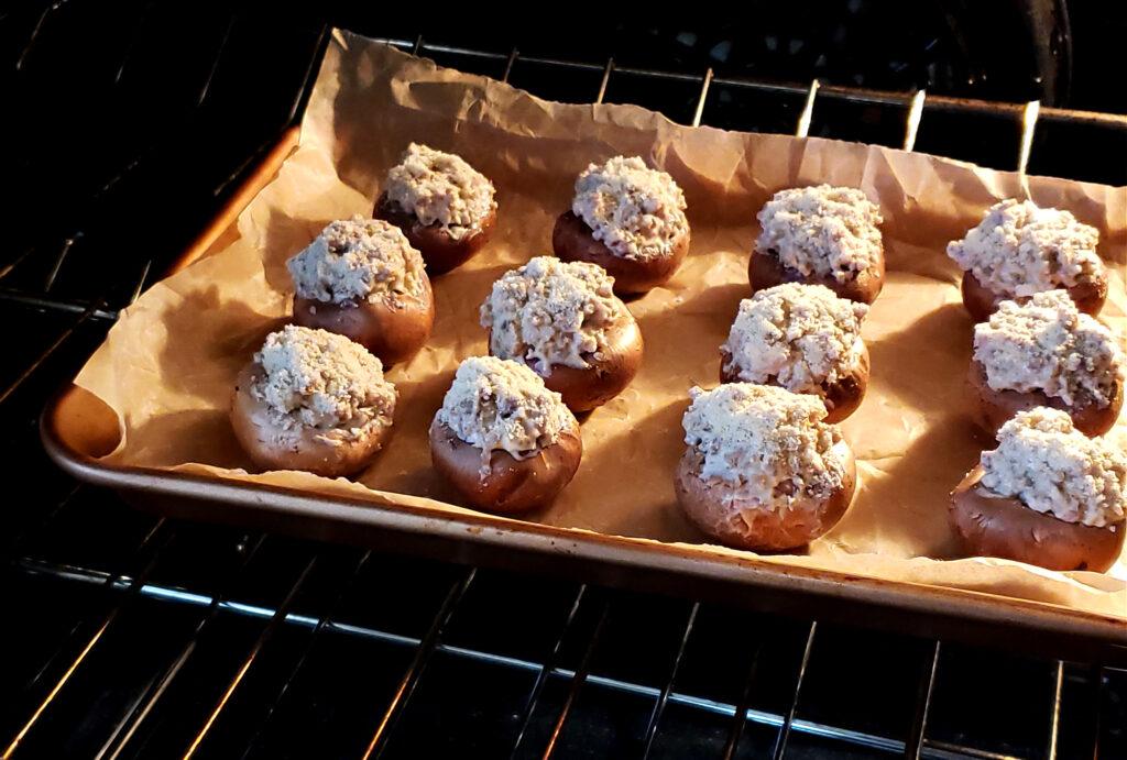 Oven baked mushroom cap appetizers - stuffed mushrooms