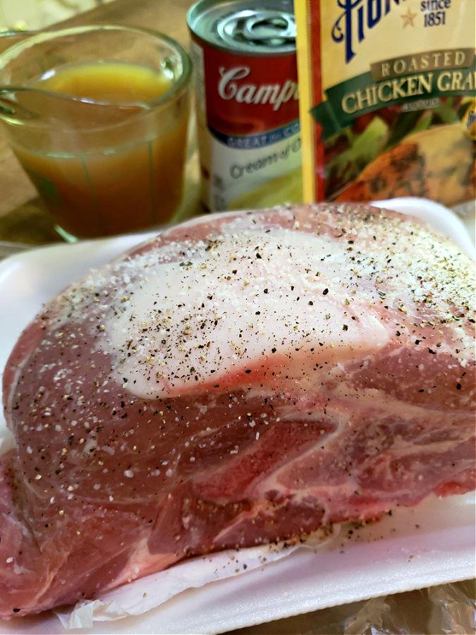 Ingredients for slow cooker pork roast recipe