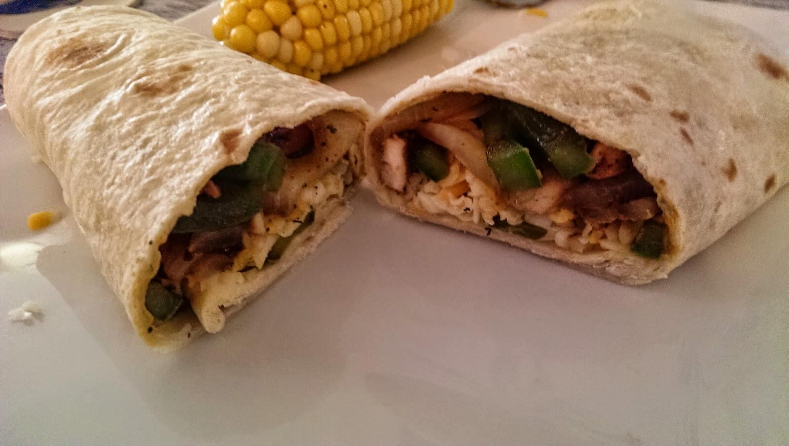 chicken fajitas in tortilla shells for lunch
