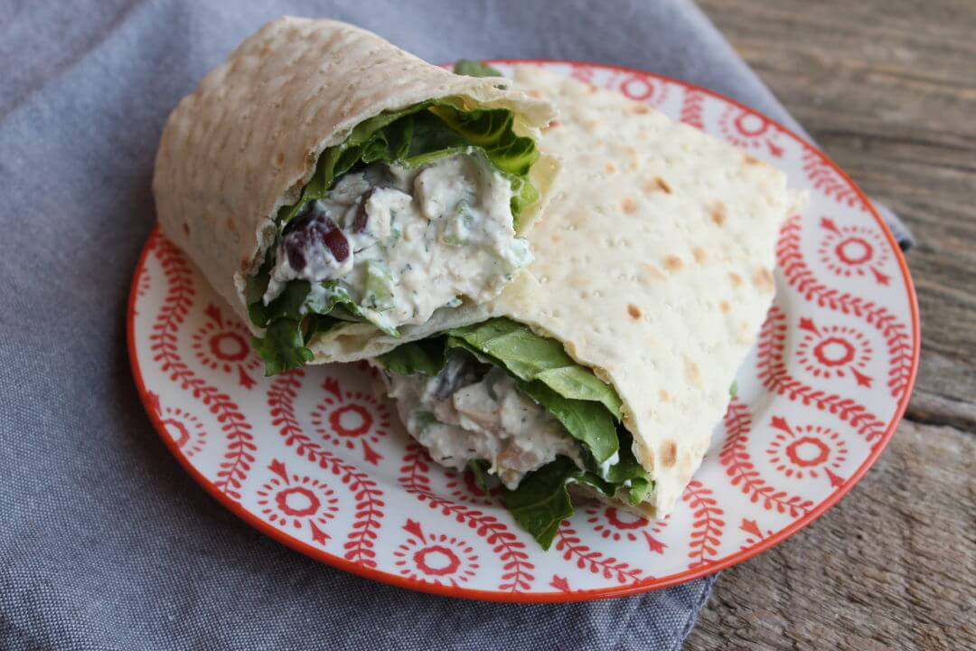 Southern Style Chunky Chicken Salad Wrap on a red and white plate