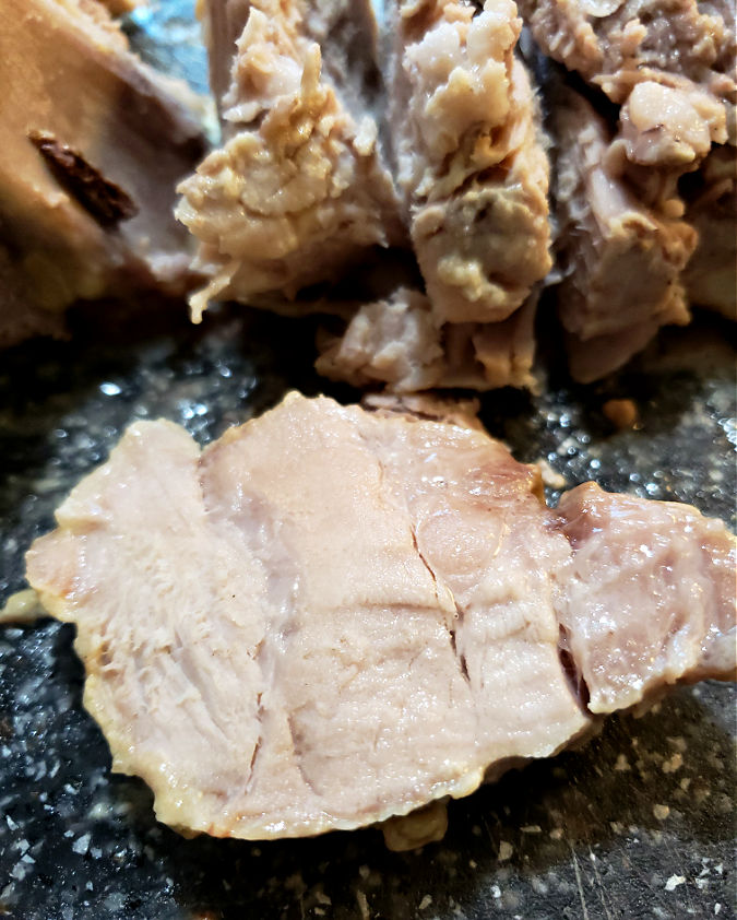 Slice of pork roast from the slow cooker