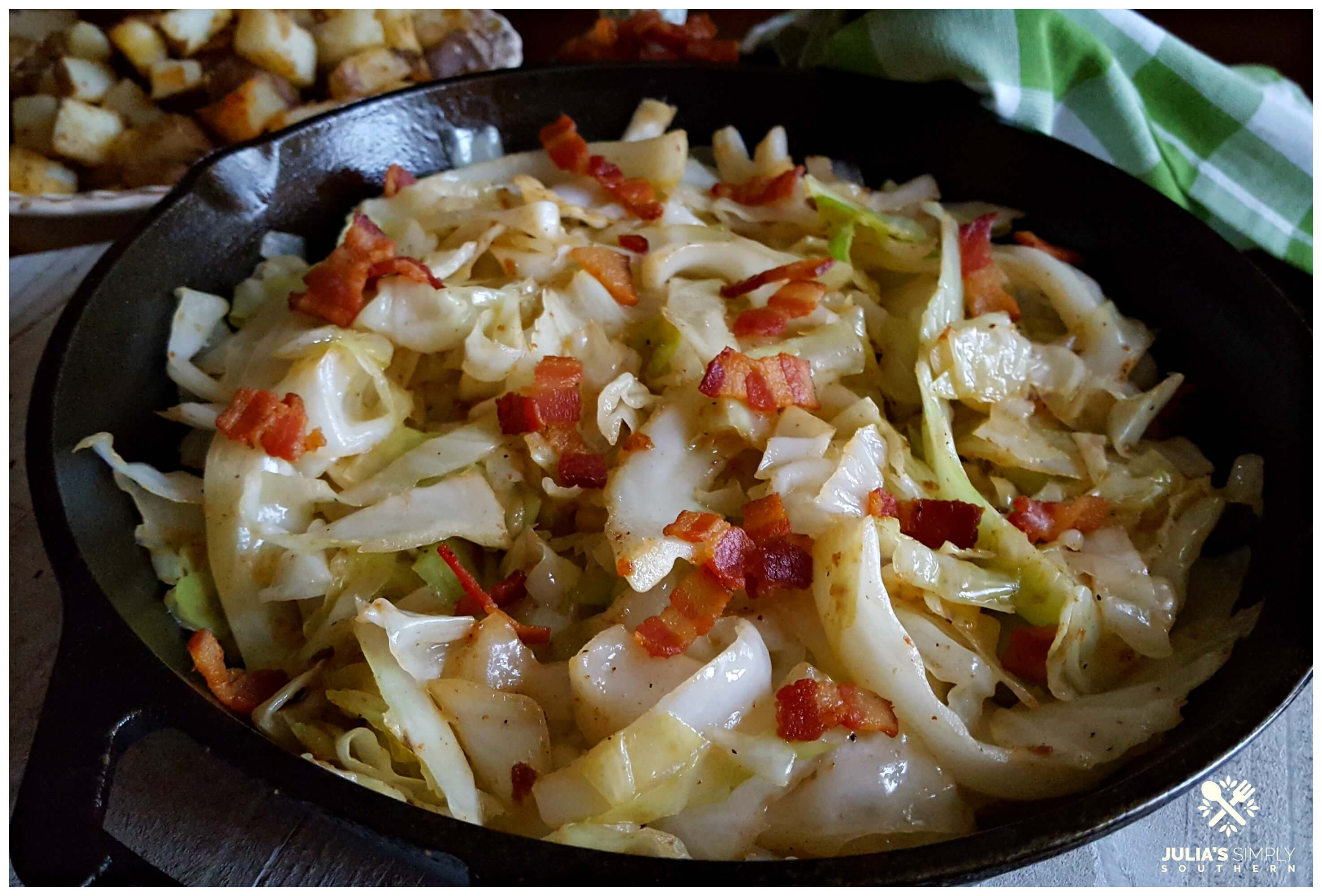 The best Southern fried cabbage with bacon - soul food - country cooking - cast iron skillet
