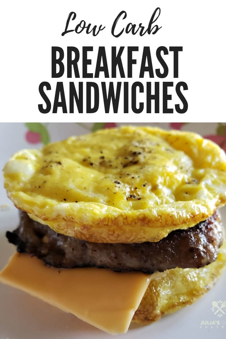Low Carb Egg Muffin Sausage and Cheese Breakfast Sandwiches #quickrecipe #breakfastonthego #lowcarb #easyrecipe #ketofriendly