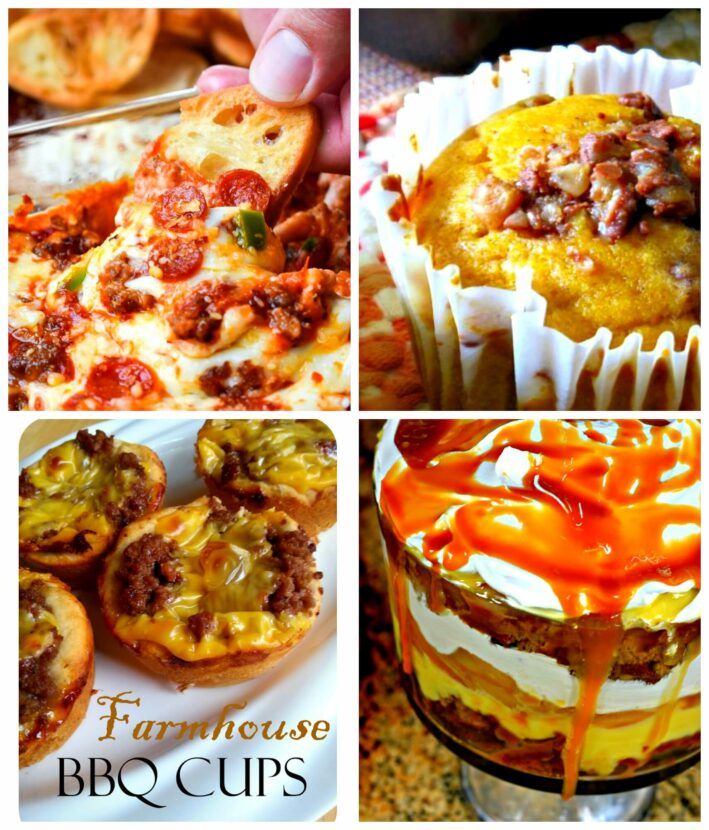 Meal Plan Monday 182 Hot Pizza Dip, Caramel Apple Trifle, Pumpkin Muffins, Farmhouse BBQ Cups