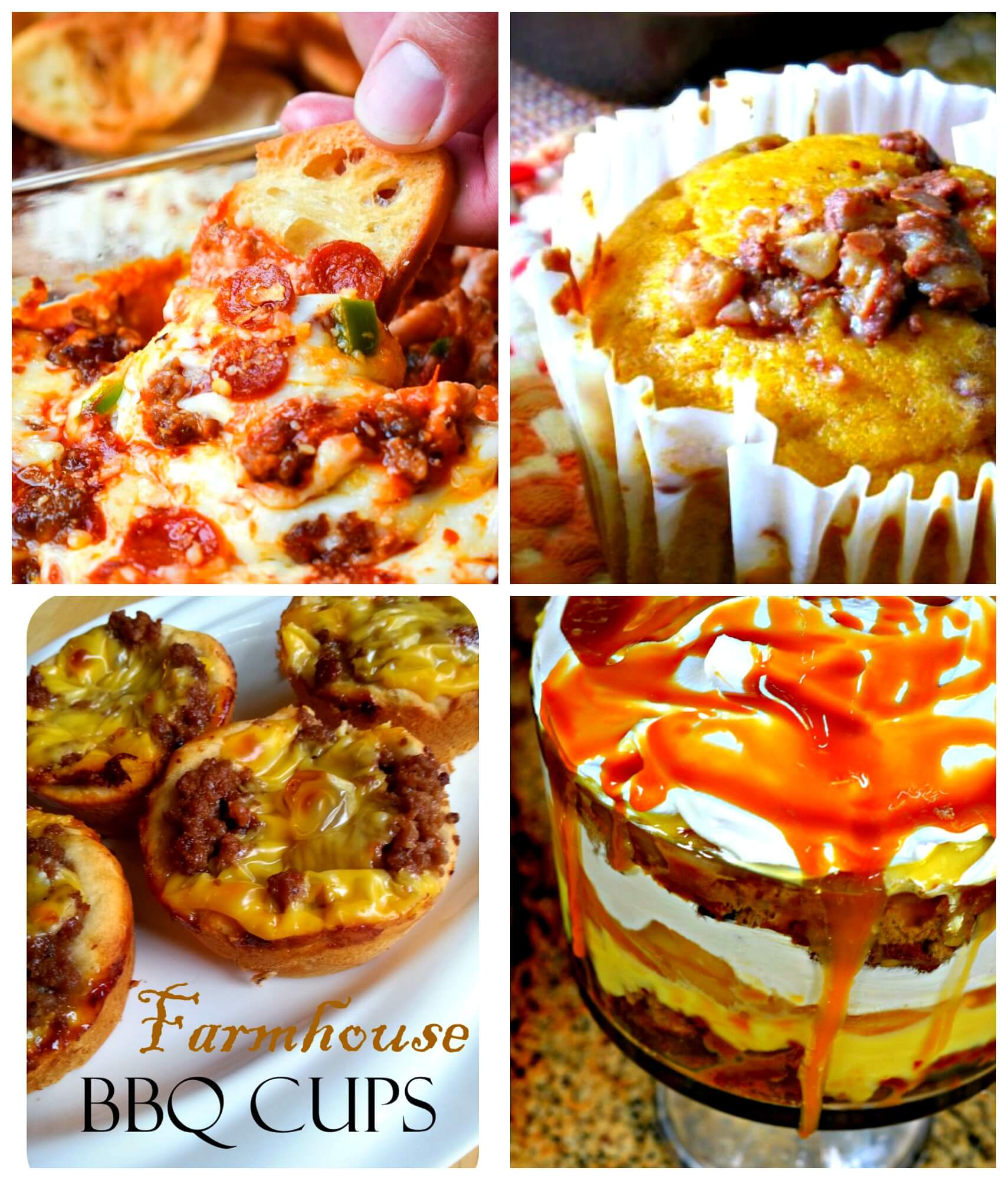 Meal Plan Monday 182 Hot Pizza Dip, Caramel Apple Trifle, Pumpkin Muffins, Farmhouse BBQ Cups