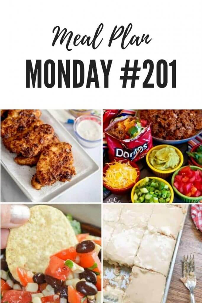 Meal Plan Monday 201 - Walking Taco Bar, Black Bean Caviar Salsa, Buttermilk Texas Sheet Cake, Mama's Chicken Planks and over 100 more recipes