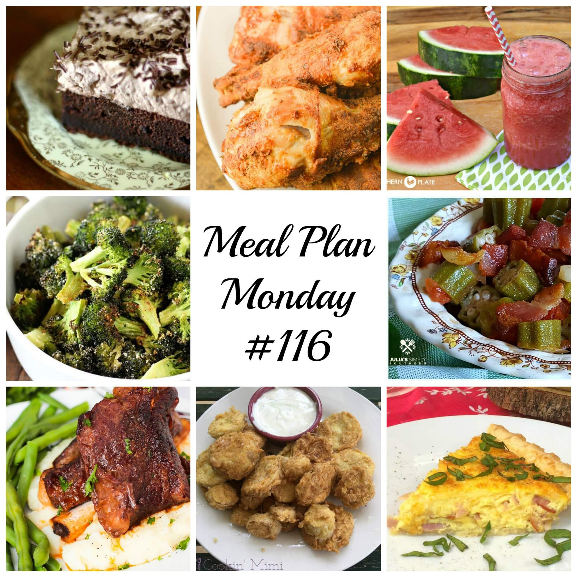 Meal Plan Monday 116 - FREE Meal Planning Recipes Featuring Chocolate Cake, Air Fryer Chicken, okra and tomatoes and fried squash