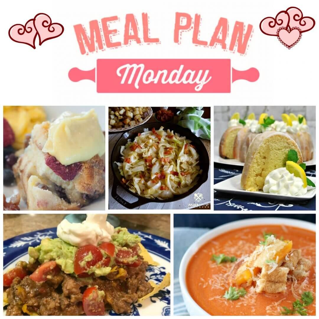 Meal Plan Monday #149 - Free meal planning recipes - Taco Casserole, Mickey's Breakfast Casserole, Lemon Bundt Cake, Creamy Tomato Soup, Fried Cabbage