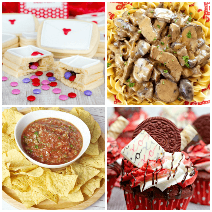 Meal Plan Monday #150 - Secret Inside Love Letter Cookies, Beef Stroganoff, Restaurant Style Salsa, Red Velvet Cupcakes and more delicious meal planning recipes