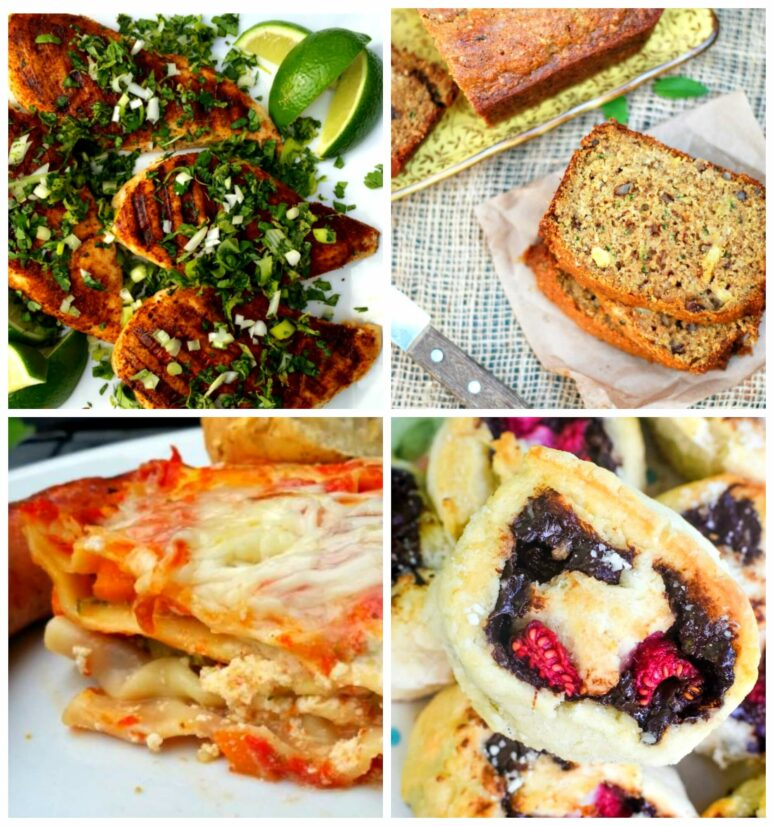 Photo Collage showing the featured recipes at Meal Plan Monday 227