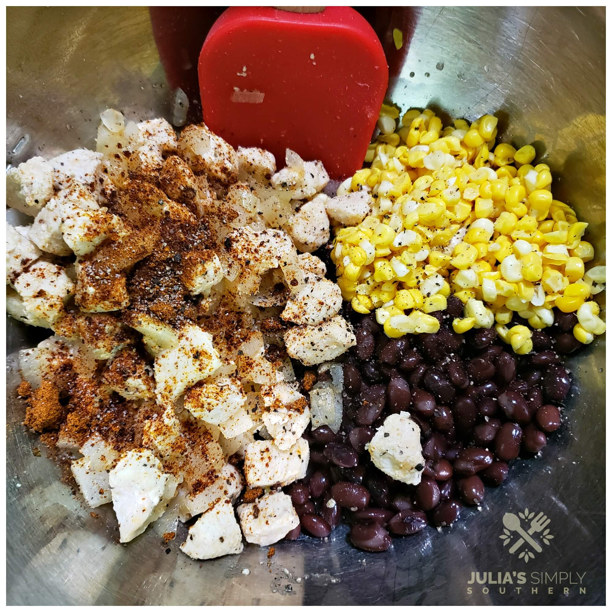 Mixing the stuffing mixture for  peppers to bake in the oven with cheese