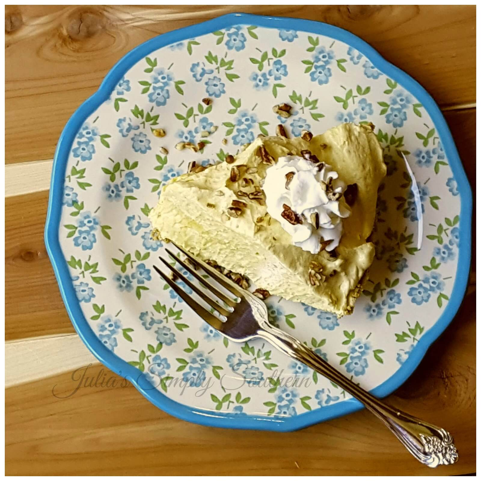 No Bake Pumpkin Pie Dessert on a blue and white plate
