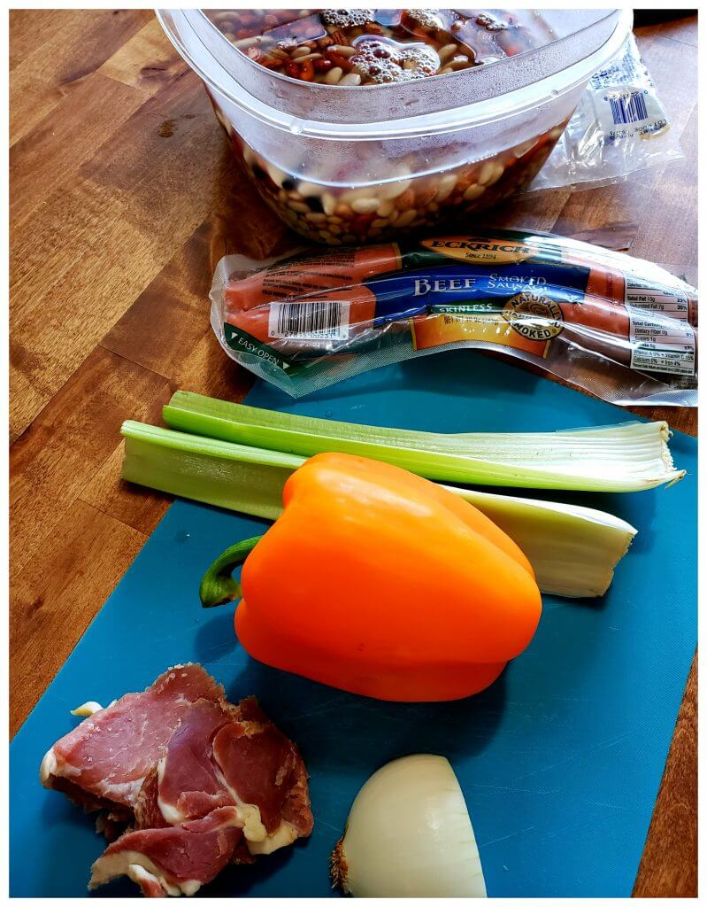 Ingredients for an easy bean soup recipe