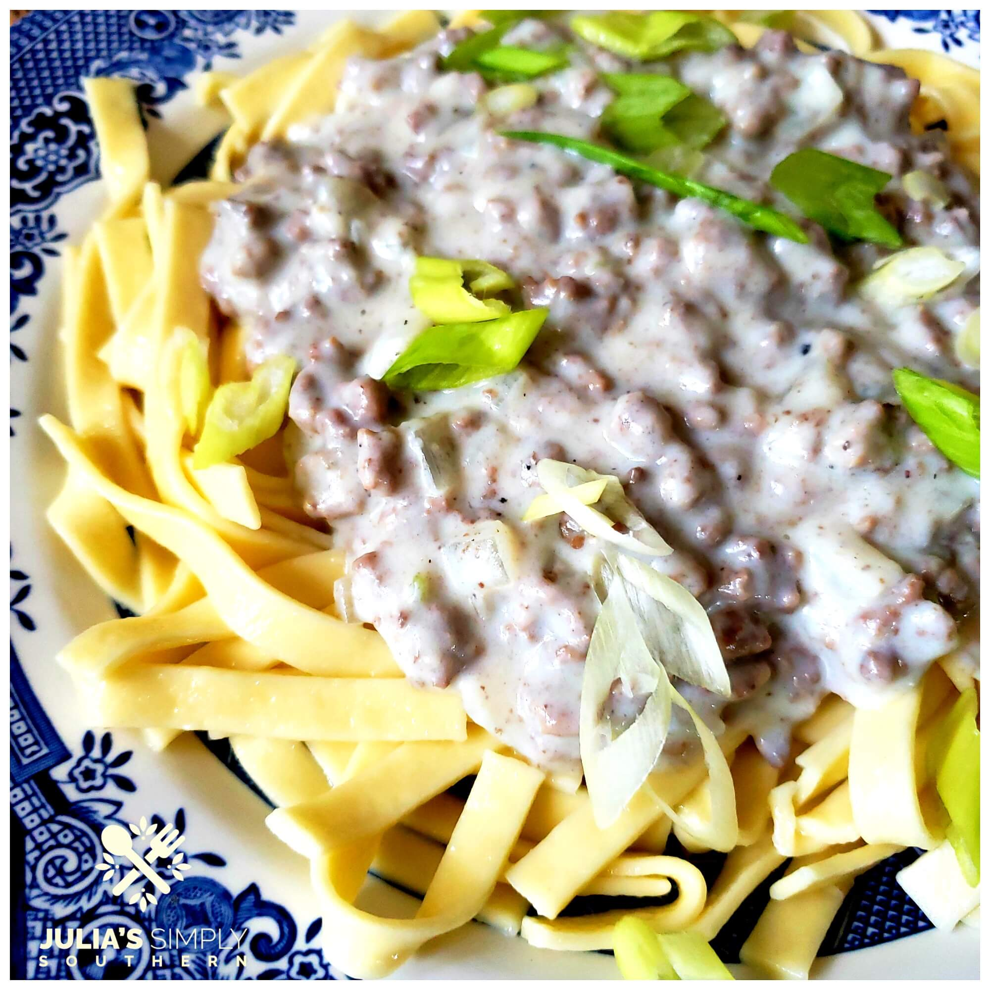 Photo of old fashioned buttered noodles topped with hamburger beef gravy and garnished with scallions on a blue and white plate