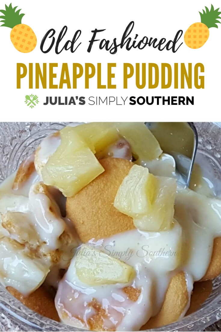 Old Fashioned Pineapple Pudding from scratch. This easy dessert is made with vanilla wafers, pineapple and a homemade vanilla custard. #dessert #classic #SouthernFood