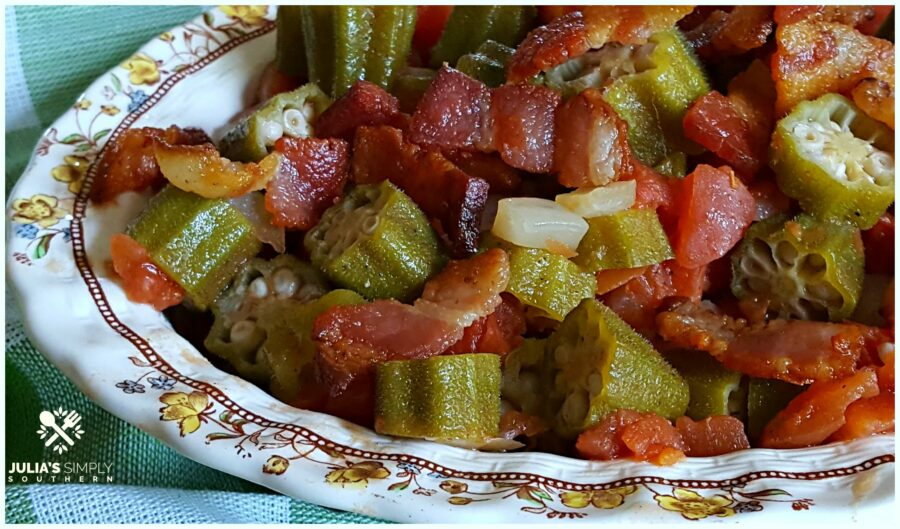 Old fashioned classic Southern okra and tomatoes